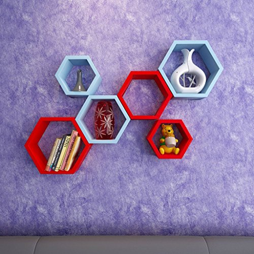 USHA Furniture Wall Shelf Rack Set Of 6 Hexagon Shape Storage Wall Shelves For Home - Sky Blue & Red  available at amazon for Rs.1699