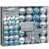 Set mit Weihnachtsbaumschmuck, 50-teilig, Eisblau und Silber