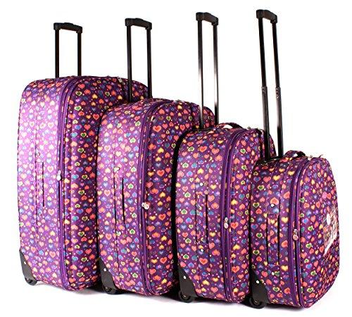 tc-hp-01 Violet Hearts bagages Lot de 4 – Funky léger Aero Voyage Valise