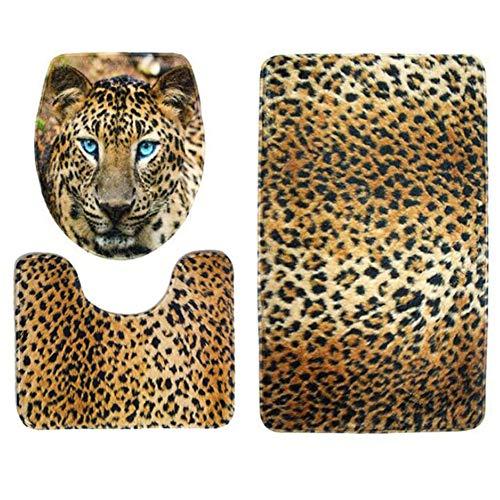 KUDIAN Matte Set 3 Stück Leopard-Druck Rutschfest Flanell für Badezimmer