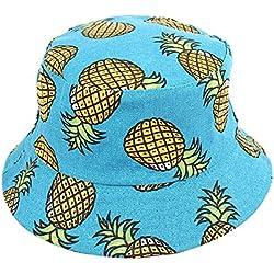 Gysad Patrón de piña Sombrero de Pescador Protección Solar al Aire Libre Gorro de Pescador Lindo Gorras Mujer Size 56-58cm (Azul)