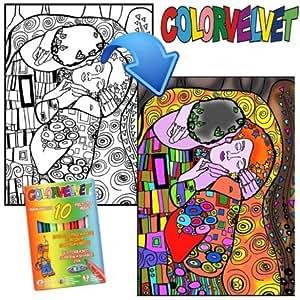 UN JEU DES JOUETS - Dessin feutres velours Klimt Le baiser 47cm Tableau coloriage velours + feutres.