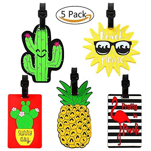 Vamei 5 Pack Reisegepäck Tags PVC Koffer ID Etiketten Reise ID Tasche Tag mit Schnalle