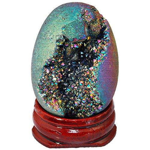 Shanxing Kristall Achat Geode Quartz Ei,Titanium Überzogen Druse Cluster Dekoration Glücksbringer(40x30mm)