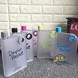 #2: PAN PACIFIC (TM) Flat Reusable Bpa-Free Portable Notebook Style Ultra Slim Water Bottle 380Ml- (Random Color).