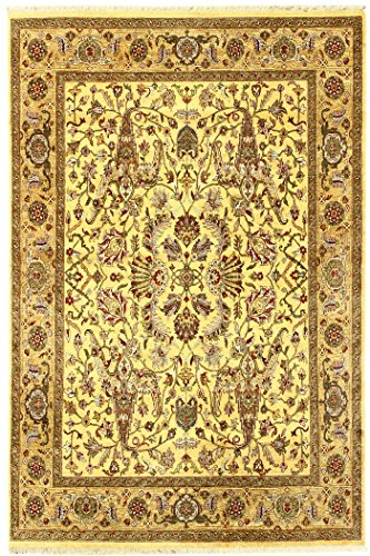 Arts of India Handgefertigt Blumen Design Gold Wolle Handgeknüpft Jaipur 8X10 Bereich Teppich (Wolle Bereich Teppiche 8x8)
