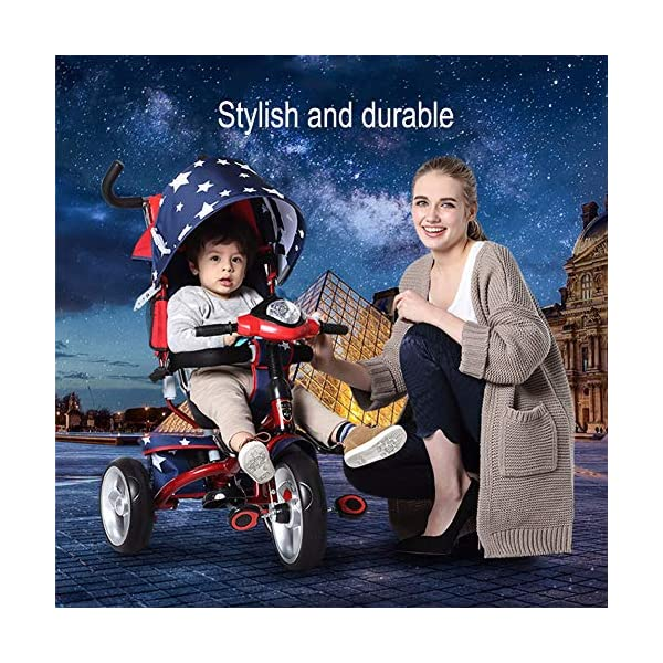 GSDZSY - 4 IN 1 Children Kids Tricycle With UV Protection Awning And Detachable Push Rod, Rotating Seat Baby Can Sit Or Half Lying, 1-6 Years Old GSDZSY ❀ MATERIAL : High carbon steel + ABS + rubber wheel, suitable for children from 1 month to 6 years old, maximum load 30 kg ❀ FEATURES : The push rod can be adjusted in height, the seat can be rotated 360, the backrest can be adjusted, the baby can sit or recline; the adjustable umbrella can be used for different weather conditions ❀ PERFORMANCE : high carbon steel frame, strong and strong bearing capacity; non-inflatable rubber wheel, suitable for all kinds of road conditions, good shock absorption, seat with breathable fabric, baby ride more comfortable 7