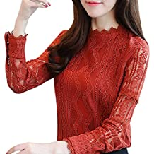 f797fcc14a Tops de Encaje de Oficina para Mujer Manga Larga Floral a Rayas Camisas de  Trabajo Slim