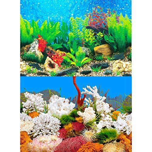 D@Qyn Aquarien Hintergrund, Statische Enge, HD-Bild 3D-Dreidimensionale Papier Malerei Fisch-Tank Tapete Doppelseitige Aquarium Dekorativen Fischbehälter,[High40*Length62cm]