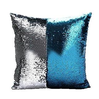 Asdomo Reversible Sequins Pillow Cover Glitter Magic Fancy Pillow Case Throw Car Sofa Cushion Case Christmas Gift for Cafe Home Xmas Party Decor 16 X 16