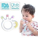Anneau Dentition Bébé Silicone Réfrigérants, Jouet de Dentition pour Bébé, Anneaux de Dentition Doux Transparent, Cadeau Naissance avec Chaîne Anti-Chute et Boîte de Rangement Sans BPA(3 Mois+)
