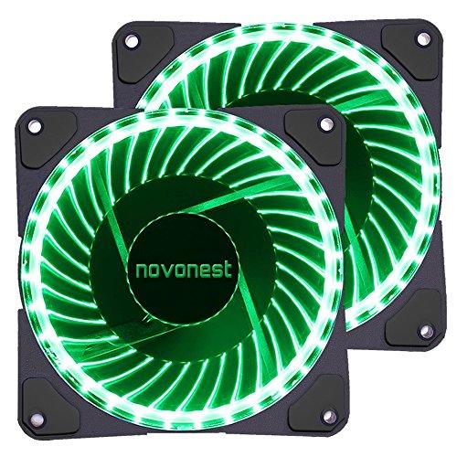novonest Gehäuselüfter 120-LED Quiet Edition 120mm High Airflow GRÜN LED Lüfter,33LED,2 Stueck pro Packung