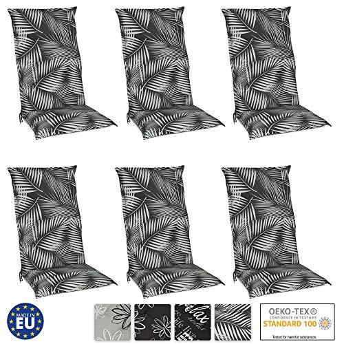 Beautissu Set de 6 Cojines para sillas de Exterior y jardín con Respaldo Alto Tropic 120x50x6 cm tumbonas...