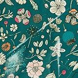 Coupon Stoff, Wachstuch Made by me–Blumen Details Neon–Boden grün–25x 70cm