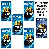 Scatola di 5Maxell m 240VHS Blank video VHS tape Cassettes Plus 1bonus Maxell m 180nastro