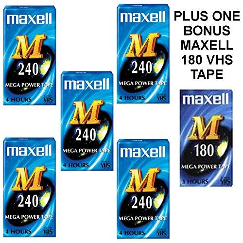 Caja de 5Maxell M 240cintas VHS en blanco cinta de vídeo VHS Plus 1Bono Maxell M 180cinta