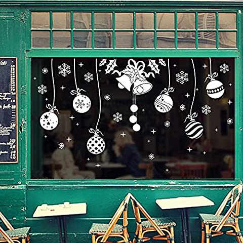 LLLDB Navidad Navidad Copo De Nieve De La Serie Bell Ball Vidriera Para Decorar Las Paredes Dlx0992,60*90 Dlx Pegatina0992