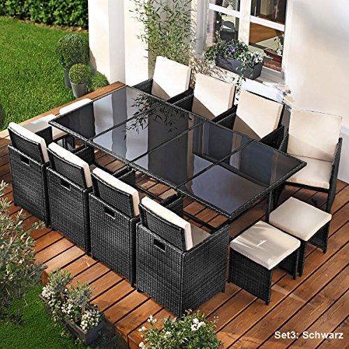 Polyrattan Gartenmöbelset Camouflage 13tlg Schwarz Poly Rattan Sitzgarnitur Gartenmöbel Garten-Garnitur Gartenset Sitzgruppe Lounge Essgruppe Tisch Sessel Stühle