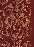 Elegantes Design mit goldfarbenem klassischem Design mit glänzenden Reflexionen auf dem Boden in Bordeaux Rot. Qualität hoch waschbar Ornamenten 95505