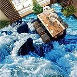 Kuamai Benutzerdefinierte Ozean Stein 3D Wohnzimmer Schlafzimmer Erdgeschoss Wandbild Selbstklebende Shopping Mall Street Bodenbeläge Tapeten-400X280Cm