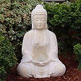 Buddha mit Teelicht Deko Figur 40cm groß betende Thai Skulptur Teelichthalter Buddhafigur sitzend Buddah Statue mit Windlicht - 2