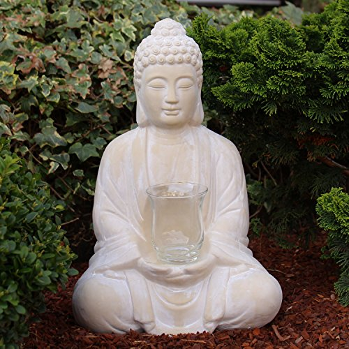 Buddha mit Teelicht Deko Figur 40cm groß betende Thai Skulptur Teelichthalter Buddhafigur sitzend Buddah Statue mit Windlicht (Buddha Groß)