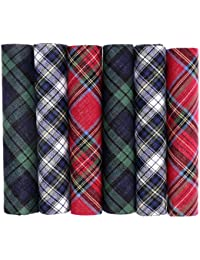 OCTAVE® Mens 100% Cotton Tartan Print Handkerchiefs - Gift Boxed 6 Pack