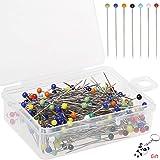 Borte, 250 Piezas de alfileres de cabeza de vidrio alfileres de coser, borte 38 mm multicolor acolchar alfileres florales par