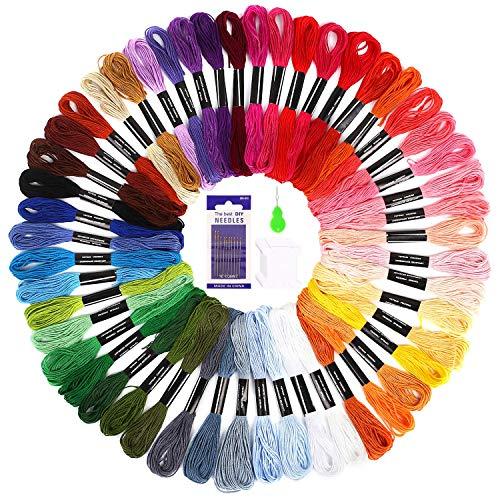 Soledi punto croce kit 50 colori filo da ricamo con 12 bobine di filo,10 aghi da ricamo, 1 infila aghi usato per ricamo - punto croce - amicizia braccialetti - mestieri (50 colore)