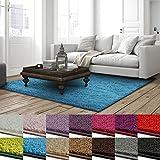 Shaggy Teppich Barcelona | weicher Hochflor Teppich für Wohnzimmer, Schlafzimmer und Kinderzimmer | mit GUT-Siegel und Blauer Engel | verschiedene Größen | viele moderne Farben | 66x130 cm | Hellblau