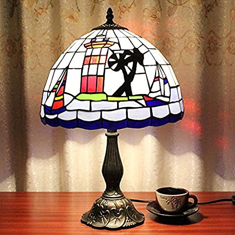 Carl Artbay 12-Inch Vintage Pastoral Mediterranean Style Stained Glass Tiffany Table Lamp Bedroom Lamp Bedside Lamp
