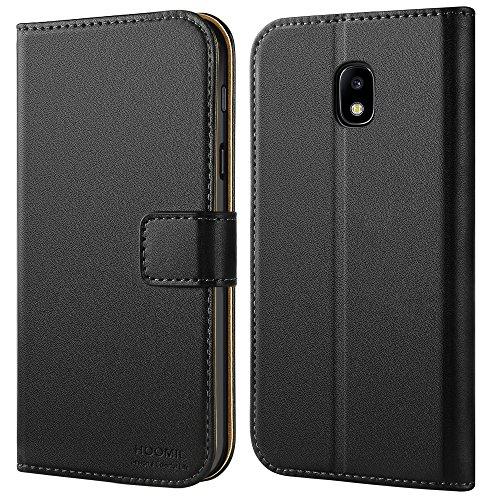 HOOMIL Coque Galaxy J32017Etui en Cuir Premium pour Samsung Galaxy J32017Couverture de Téléphone (Noir)