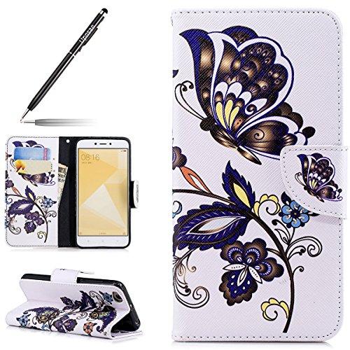 Uposao Handyhülle für Xiaomi Redmi 4X Handytasche Retro Muster Leder Flip Case Cover Tasche Ledertasche Lederhülle Bookstyle Klapphülle mit Kartenfach Magnetverschluss,Blau Blumen