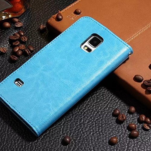 Wkae Case Cover Samsung S5 Fall feste Folio magnetische Design Flip Brieftasche Stil Fall Farbmuster PU-Leder-Abdeckung Standup-Abdeckungsfall für Samsung S5 ( Color : Brown , Size : Samsung S5 ) Blue