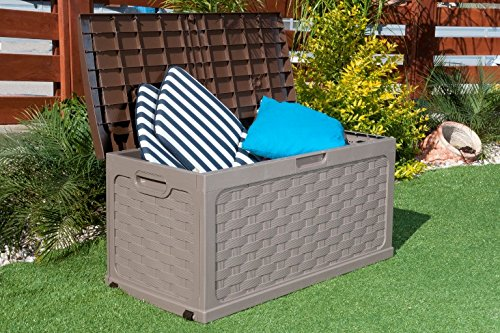 Garten-Aufbewahrungsbox aus Kunststoff mit Sitzkissen und Deckel, Rattan-Optik, braun
