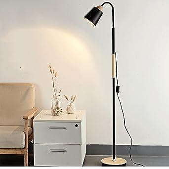 Frelt Stehlampe Moderne Einfache LED Kreative Wohnzimmer Kaffee Lichter Schlafzimmer Nachttisch Lampe Holz Stehleuchte Farbe Schwarz Amazonde