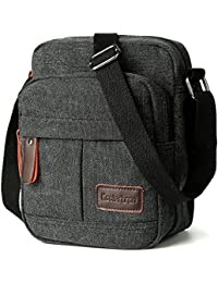 184cfc0a9b Koolertron Men s Shoulder Bag Canvas Retro Classic Sports Zipped Boy Over Shoulder  Bag Small Lightweight Long