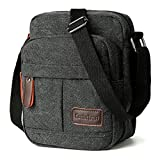 Koolertron Men Shoulder Bag Small Retro Canvas Satchel Zipped Unisex Lightweight Long Strap Crossbody Travel Messenger Bags for Phone iPad Mini Kindle (Black, 17.5x21x10cm/LxHxW)
