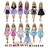 Miunana 22 Pezzi = 12 PCS Abiti Vestiti Vestito Abito Clothes Dresses Alla Moda Fashion + 10 PCS Scarpe Selezionati A Caso Per Principessa Bambola Barbie Dolls