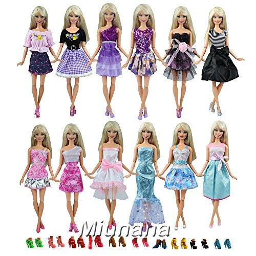Miunana 12 piezas Vestido Fashion Falda Mini Vestir Fiesta Ropa Casual + 10 Zapatos Accesorios Estilo al azar para Barbie Muñeca