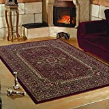 Klassische modern designer orient Teppiche für Wohnzimmer, Esszimmer, Gästezimmer,kurzflor gemustert orient Medaillon Barock design,moderne Farben Rot_0207, Maße:160x230 cm