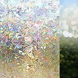 Ausleben von Fensterfolien, 3D-No-Kleber-statische dekorative Privatsphäre Fensterfolien für Glas-No More Fenstervorhang- Non-Adhesive Hitzesteuerung Anti Uv (60x100cm)