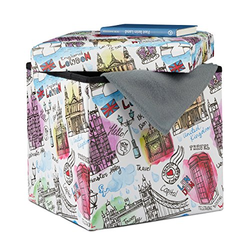 Relaxdays 10022871_469 pouf contenitore scatola portaoggetti similpelle motivo londra sgabello pieghevole hlp 38 x 38 x 38 cm colorato