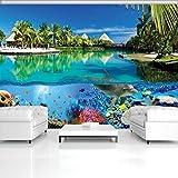 DekoShop Fototapete Vlies Tapete Moderne Wanddeko Wandtapete Korallenriff und Malediven AMD3356VEXXL VEXXL (312cm. x 219cm.)