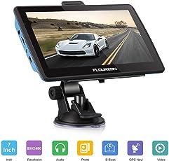 """FLOUREON Dispositivo di Navigazione LCD Touch Screen da 7"""" Navigatore GPS Navigazione NAV Mappe EU UK Memoria da 8 GB Per Auto (Blu)"""
