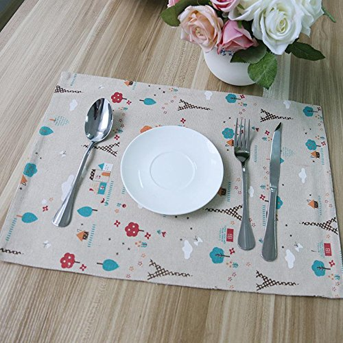 YUANLINGWEI Bedruckte Baumwolle Leinen Tischset Esstisch Mat Teller Blume Tasse Kaffee Pads Küche...