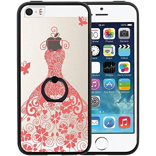 Coque iPhone SE, TrendyBox Transparent Noir Givré Anti-rayures Rotation Bague Case pour iPhone 5/5S/SE avec verre trempe film de protection (Mandala Fleurs) 1028
