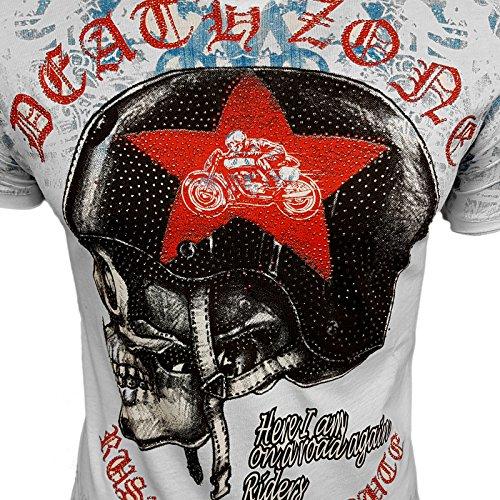 HERREN T-Shirts TShirt NEU Größe S M L M XL XXL RUNDHALS Totenkopf Skull RN15043 Weiß