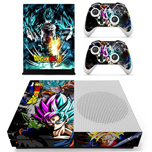 Vanknight Xbox One S Slim (XB1 S) Konsole 2 Controller Controller Skin Set Vinyl Skin Sticker Cover Wrap for XB1 S Goku