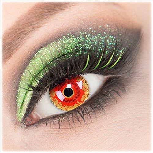 Farbige rote rot 'Red Monster' Kontaktlinsen 1 Paar Crazy Fun Kontaktlinsen mit Kombilösung (60ml) + Behälter zu Fasching Karneval Halloween - Topqualität von 'Giftauge' ohne Stärke